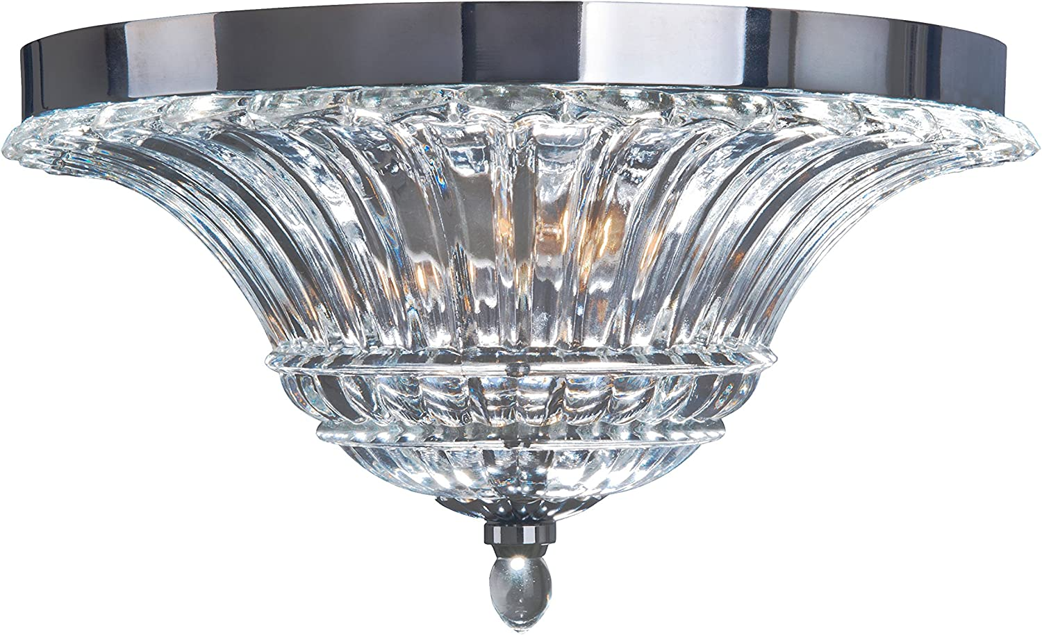 Elegant Designs Fm1002 Chr Ceiling Glacier Petal 2 Light Glass Flushmount Chrome Amazon Com