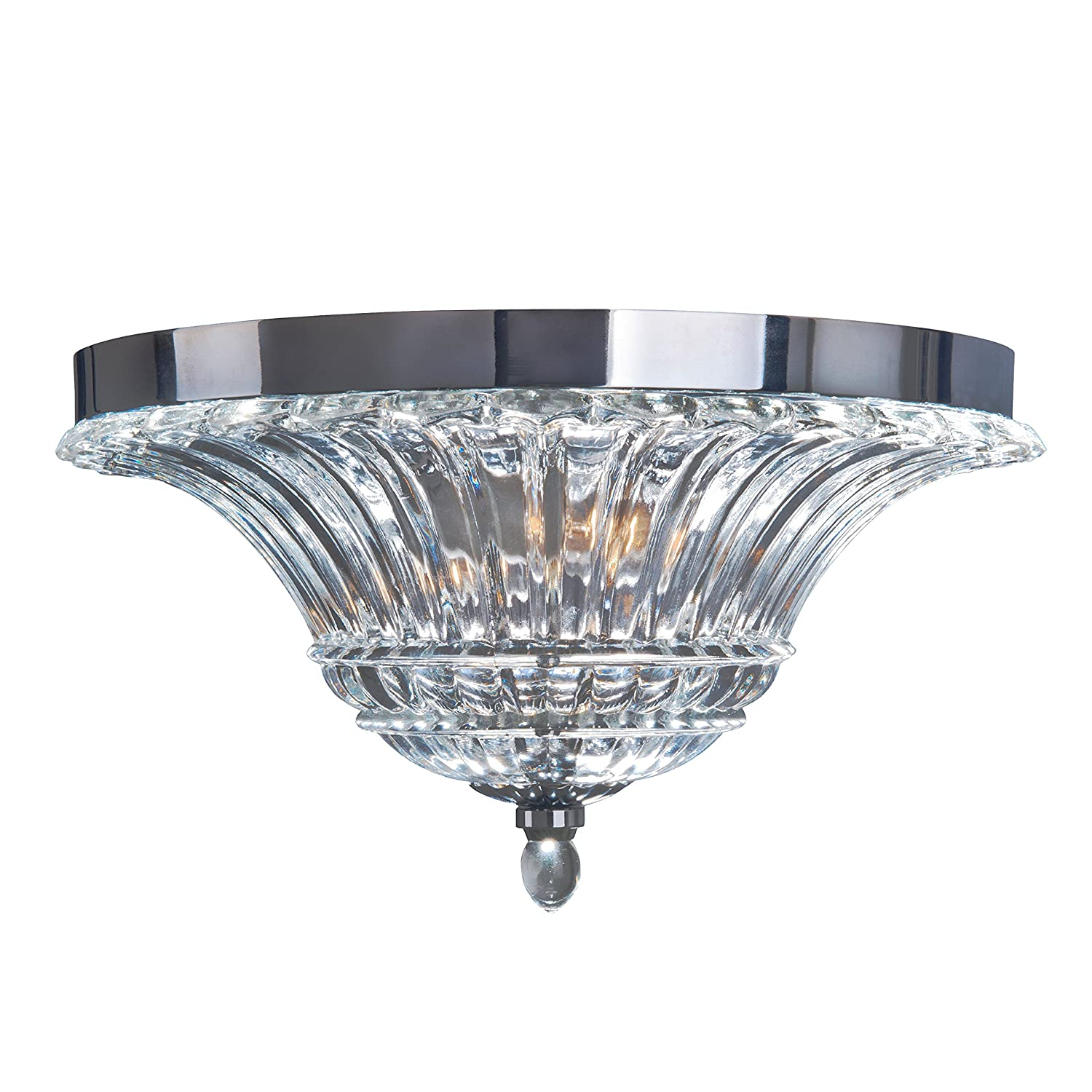Elegant Designs FM1002 CHR 2 Light Glass Ceiling Glacier Petal Flushmount Chrome