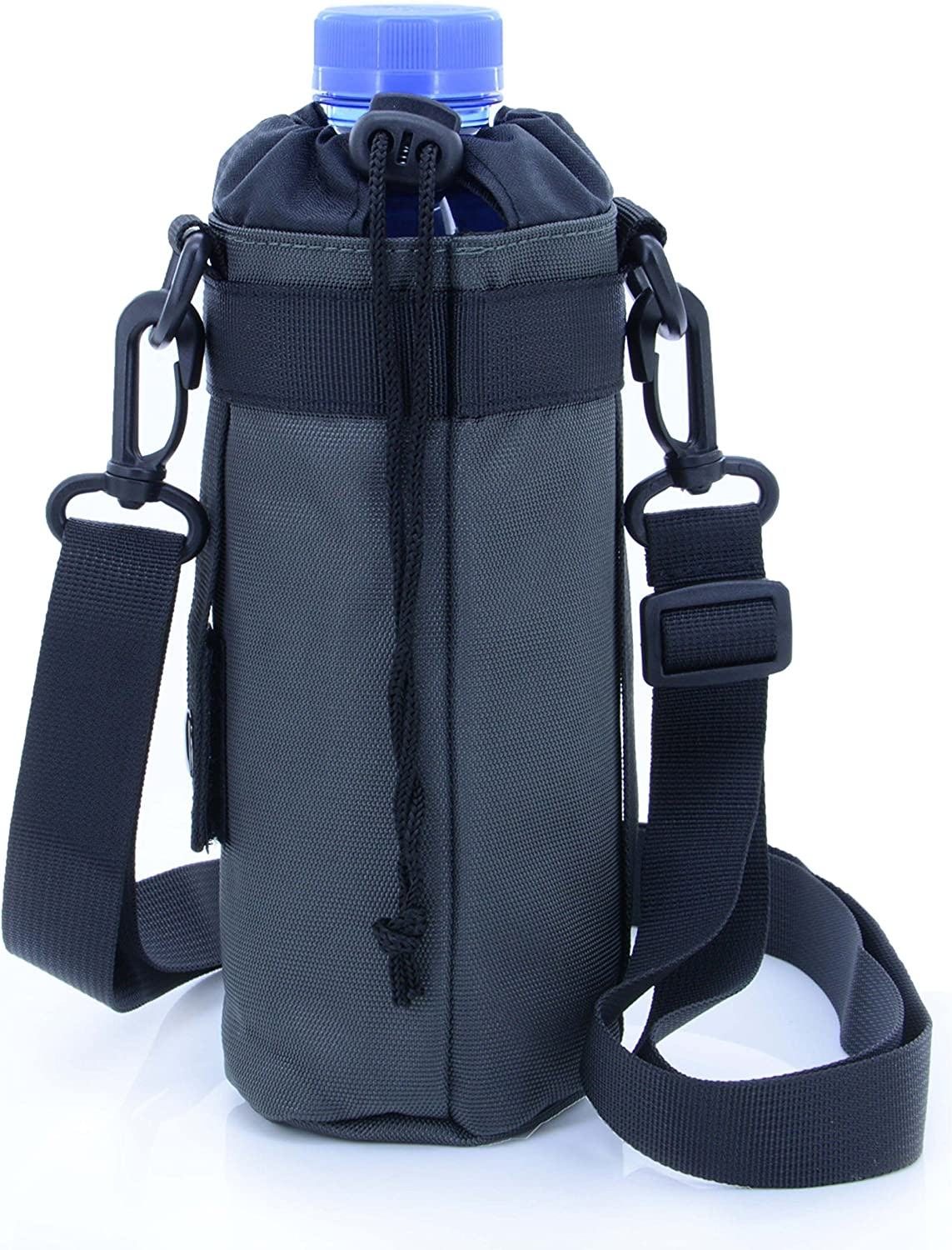 U-TIMES Water Bottle Holder 750 ml Nylon Water Bottle Carrier/Bag/Pouch/Case/Cover/Sleeve with Shoulder Strap & Belt Handle & Molle Accessories - Drawstring Closure