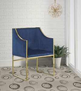 Iconic Home Rowan Modern Contemporary Steel Frame Velvet Accent Chair, Navy