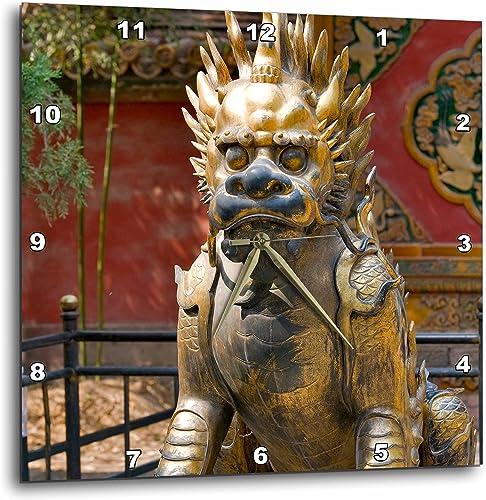 3dRose DPP_72222_2 Qing-Era Guardian Lion, Forbidden City, Beijing, China-AS07 JMI0068-Janis Miglavs-Wall Clock, 13 by 13-Inch