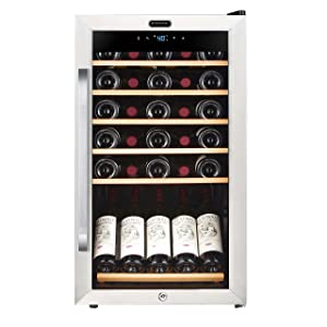Whynter Built in and Free Standing FWC-341TS 34 Bottle Freestanding Wine Refrigerator with Display Shelf and Digital Control, Stainless Steel, One Size