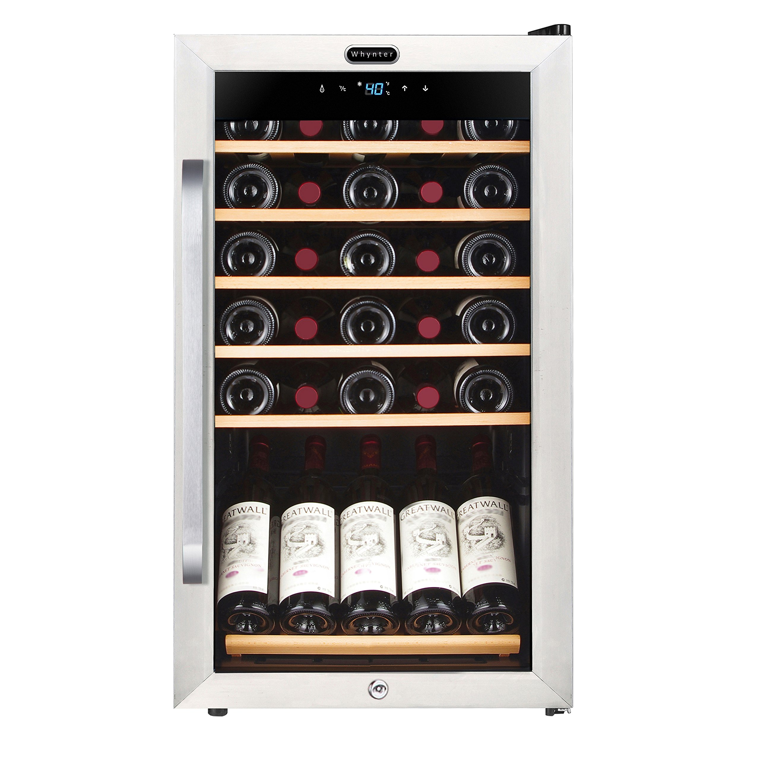 Whynter FWC-341TS 34 Bottle Freestanding Wine Refrigerator with Display Shelf and Digital Control, Stainless Steel