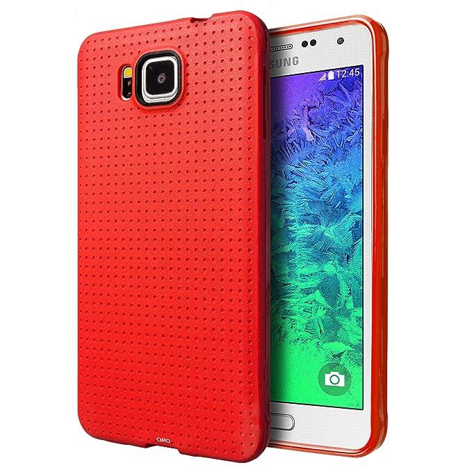 Funda Samsung Galaxy Alpha, Cimo [Punteado] Carcasa de Plástico Fino, Antideslizanteible y Suave para Samsung Galaxy Alpha (2014) - Rojo