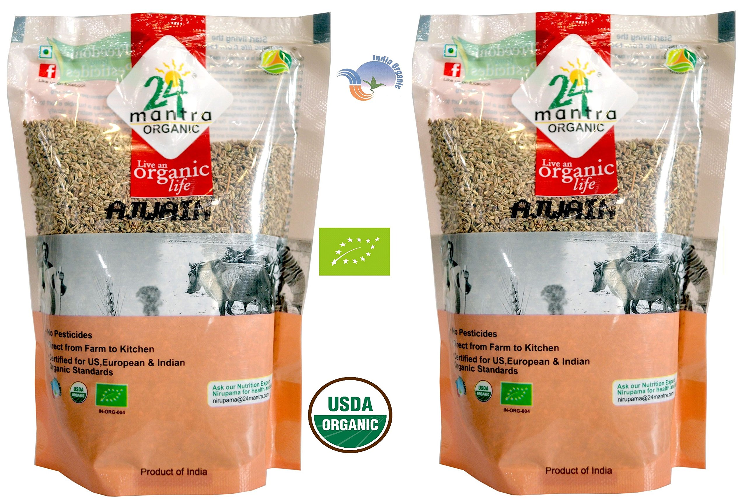Organic Ajwain Seeds - ★ USDA Certified Organic - ★ European Union Certified Organic - ★ Pesticides Free - ★ Adulteration Free - ★ Sodium Free - Pack of 2 X 7 Ounces (14 Ounces) - 24 Mantra Organic
