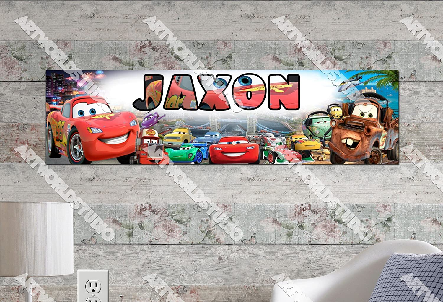 8.5x30 Personalized Name Poster Customize With Your Childs Name Birthday Party Banner Disney Car