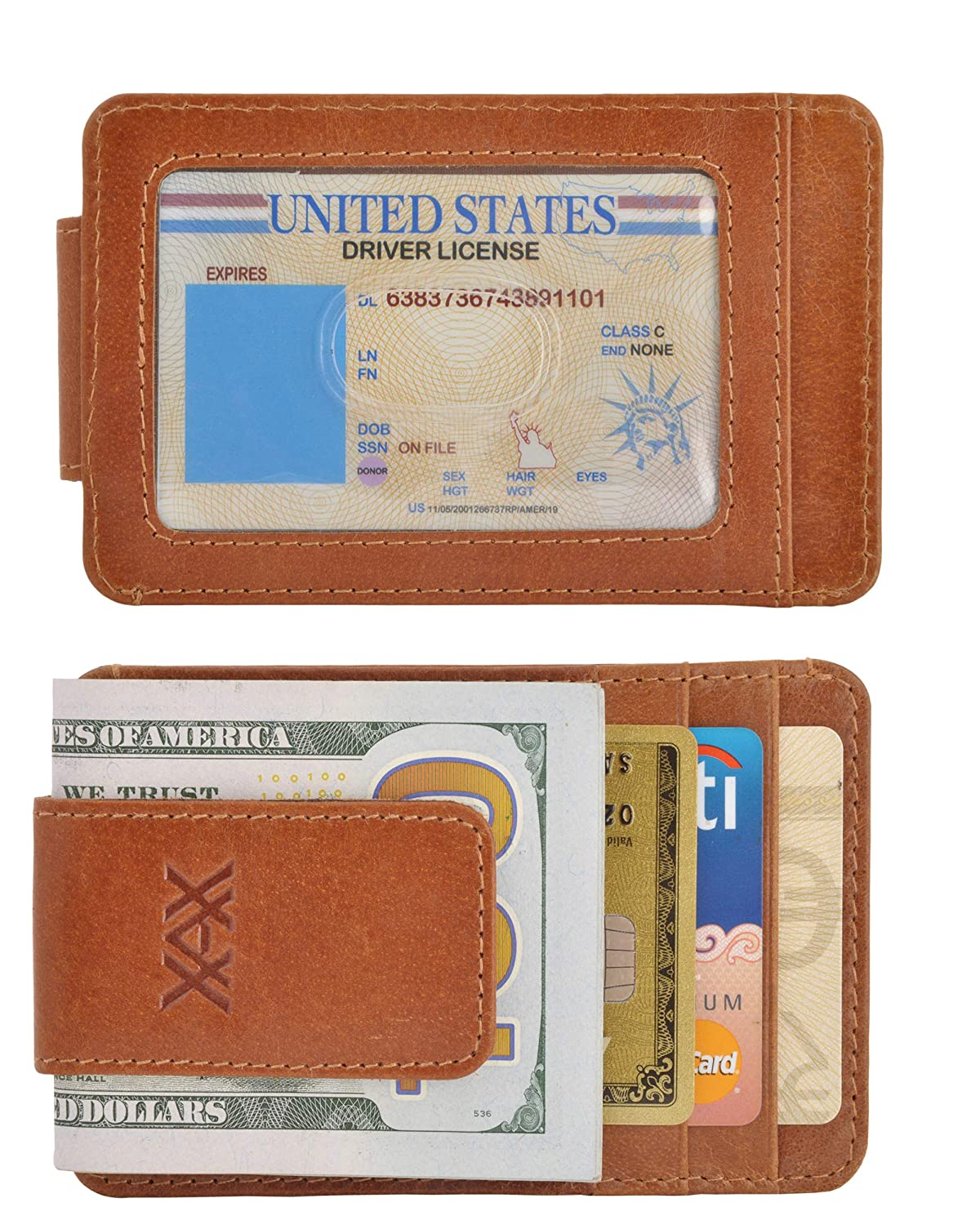 XAX Full Grain Leather Magnetic Front Pocket Money Clip Wallet RFID Blocking