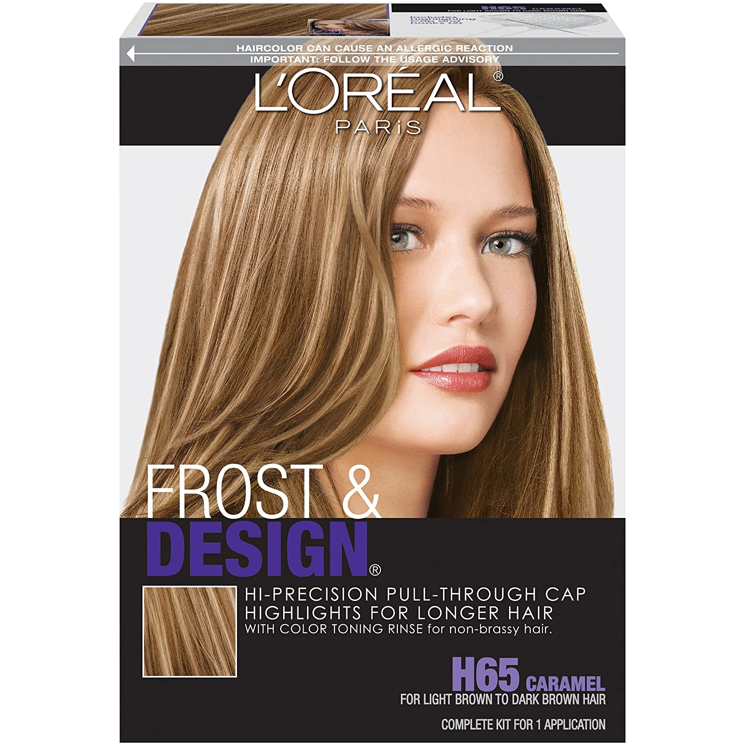 Amazon com l or al paris frost and design cap hair highlights for long hair h65 caramel hair highlighting products beauty