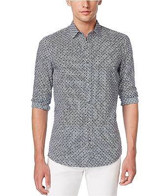 c8962945cd7e Michael Kors Mens Diamond Button Up Shirt Blue M at Amazon Men s ...