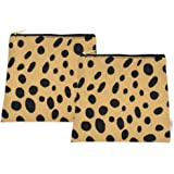 Wateproof Petit Pouch - Set of Two - Small Wet Bag - Snack Bag - Carry Pacifiers, Teething Toys, Wipes, Toiletries, Cloth Pads, Breast Pads - Made in USA (Leopard)