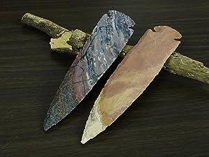 Reikiera 2 x Handmade Indian Agate Stone Spearhead 7 Inches Arrowhead