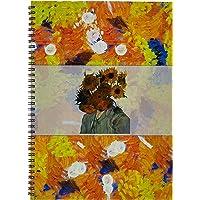 Woohoodesign 25626-46504 PP Sert Kapaklı Spiralli Çizgili/Kareli Defter A4-A5 Van Gogh Çiçek A4-Çizgili