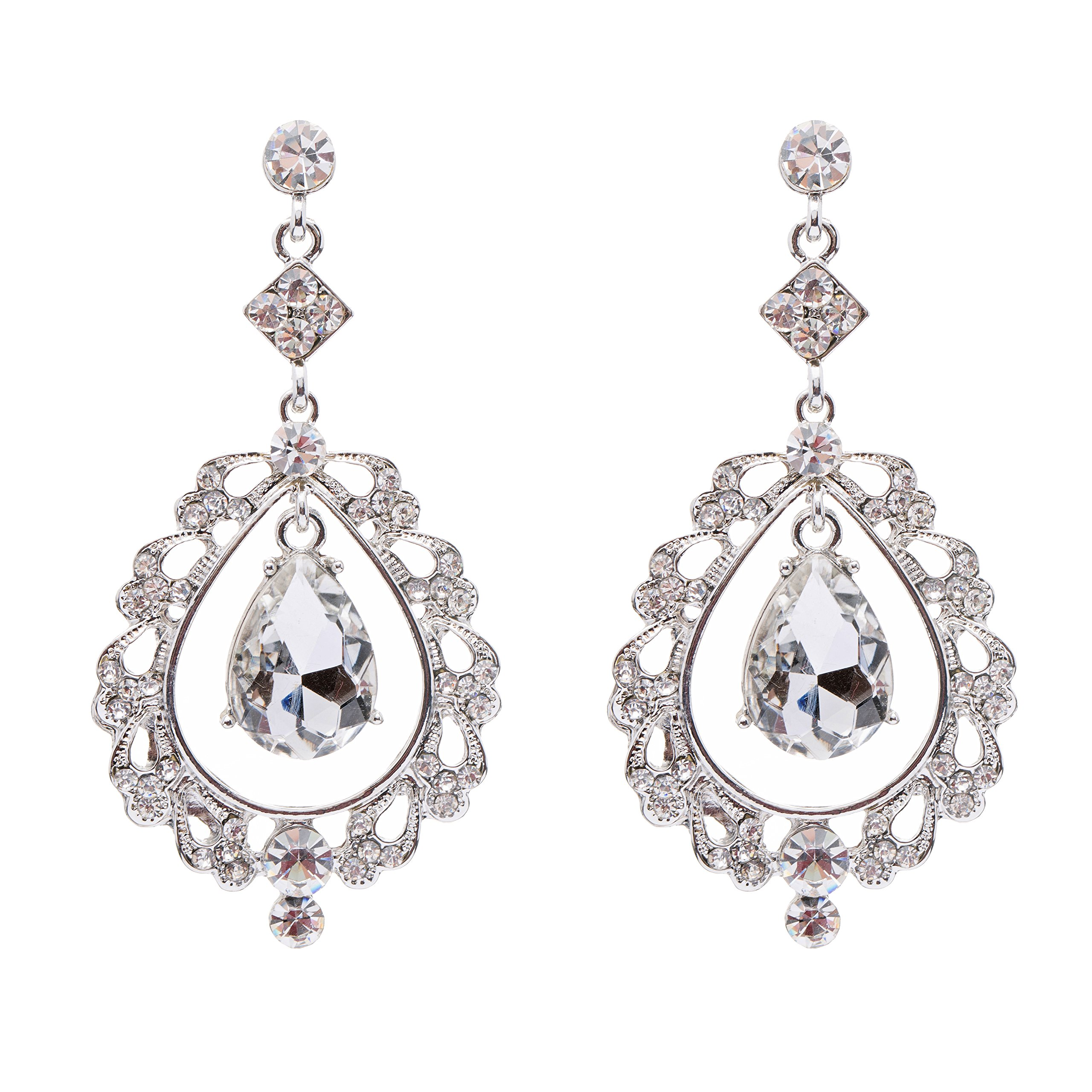 Bridal Wedding Crystal Rhinestone Teardrop Open Dangling Drop Fashion Earrings