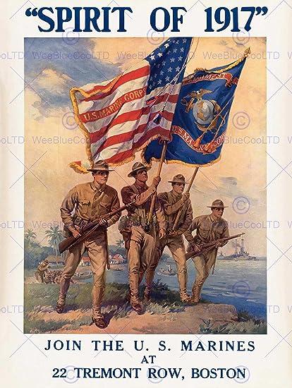 amazon com propaganda war wwi usa enlist us marine corps flag gun