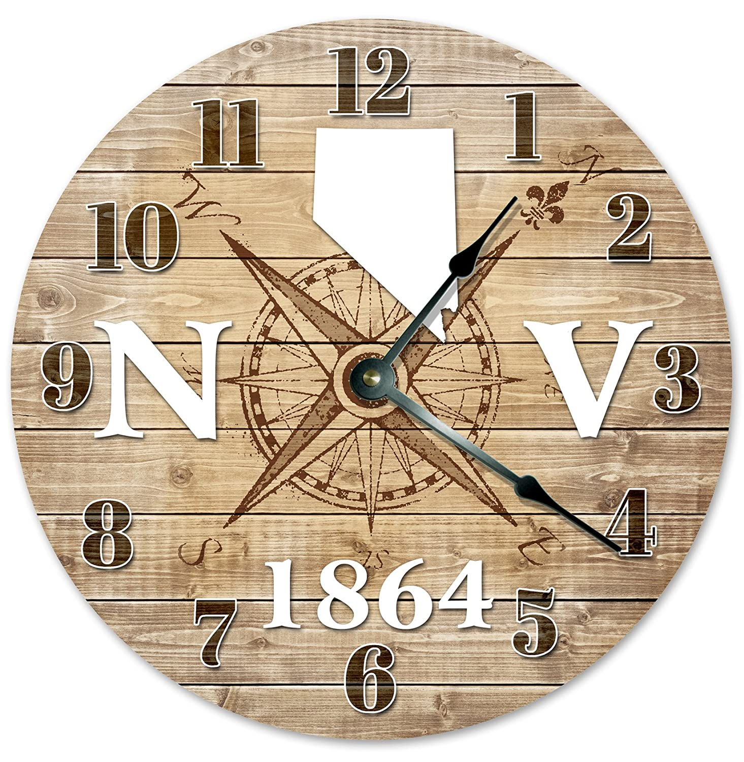 """NEVADA CLOCK Established in 1864 Decorative Round Wall Clock Home Decor Large 10.5"""" COMPASS MAP RUSTIC STATE CLOCK Printed Wood Image"""