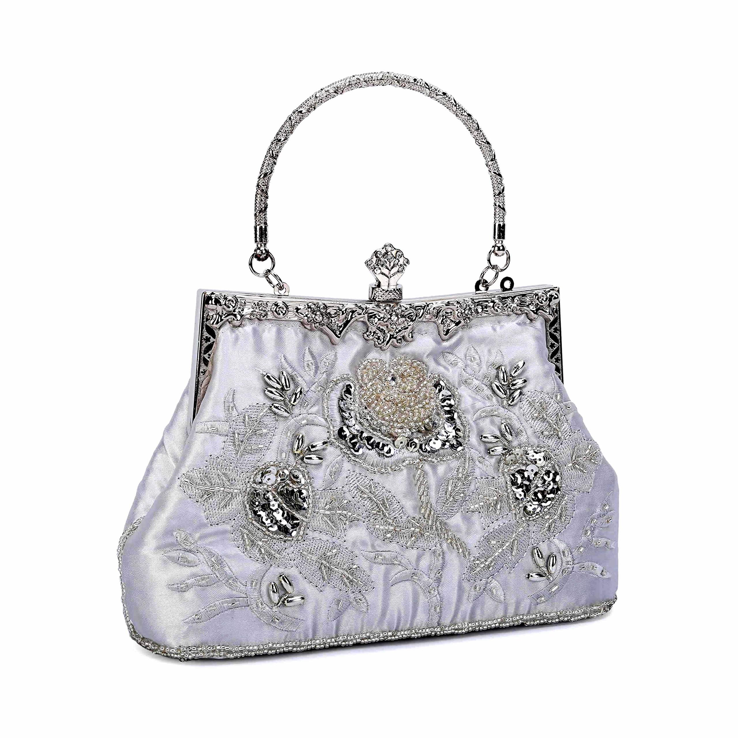 UBORSE Women's Embroidered Beaded Sequin Evening Clutch Large Wedding Party Purse Vintage Bags (Silver)