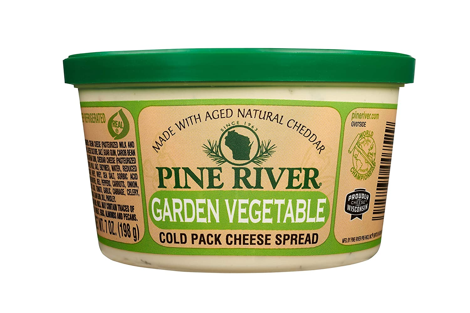 Pine River Wisconsin Cheese Spread Garden Vegetable - 3 pack of 7oz ea. (21oz.) Perfect On A Bagel