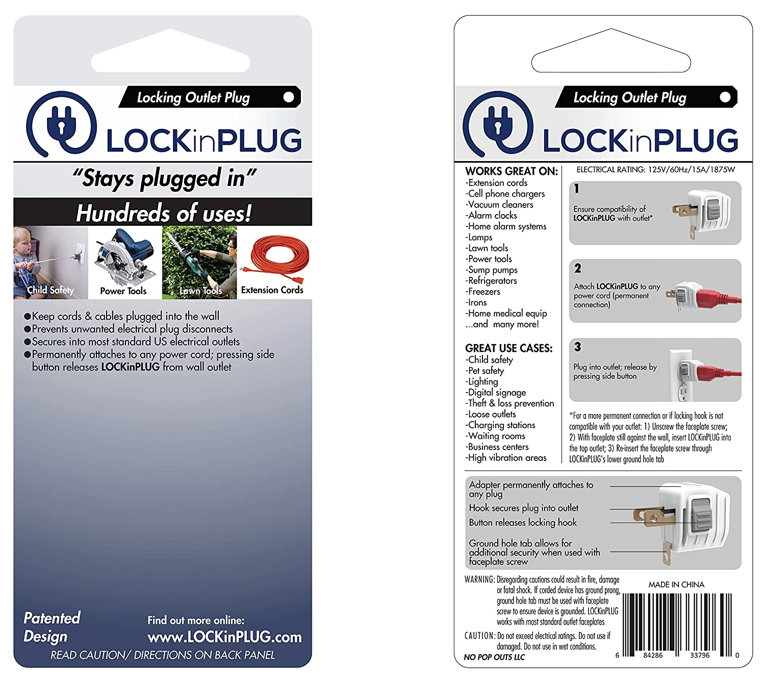 Amazon lock in plug lock secure any plugcablecordcharger locking wall adapter for electrical outlets baby proof extension cords critical appliances petchild safety baby publicscrutiny Image collections