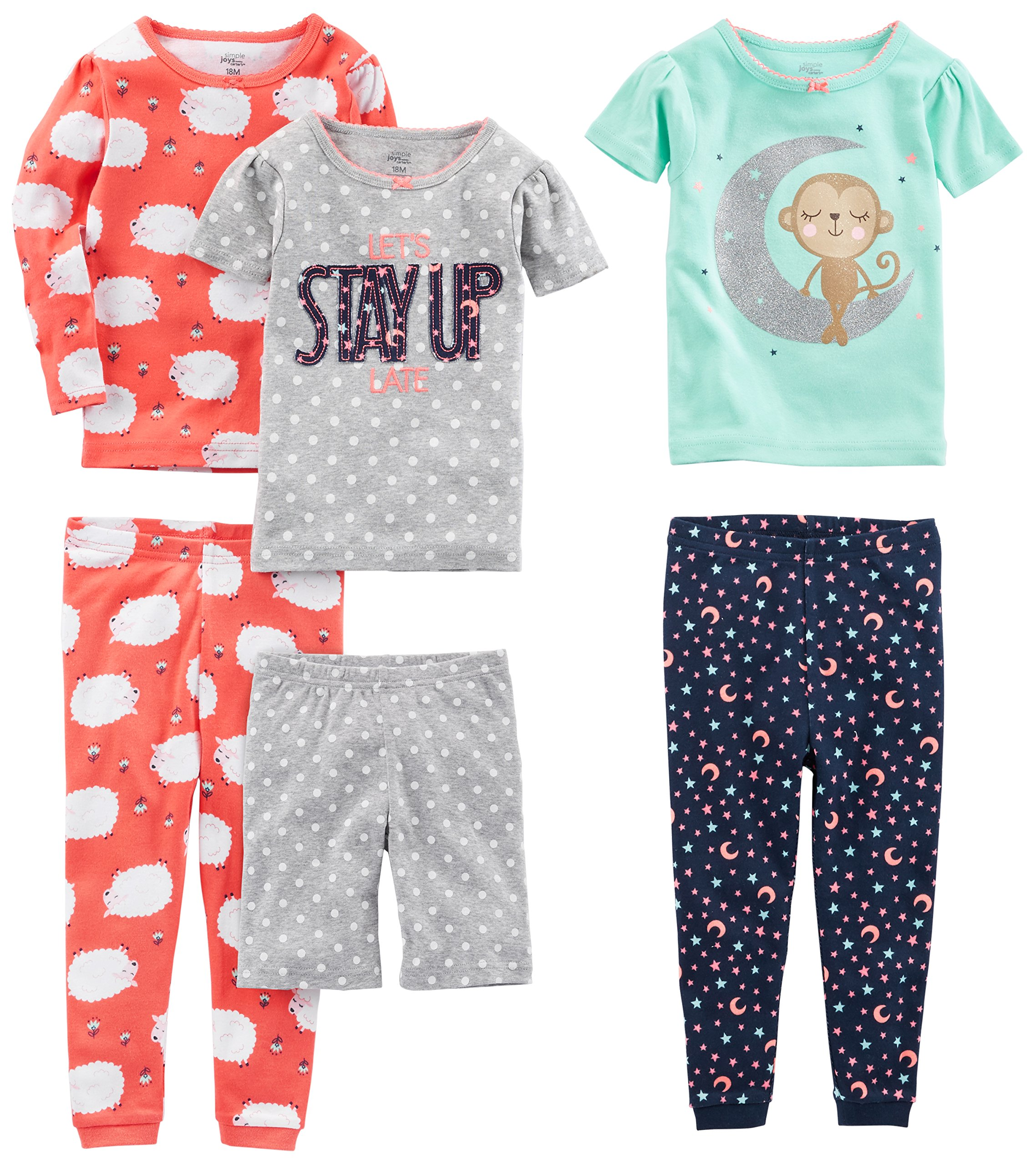 Simple Joys by Carter's Baby Girls 6-Piece Snug Fit Cotton Pajama Set, Sheep/Dot/Monkey, 24 Months