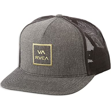 best service 74d8c f7d02 Image Unavailable. Image not available for. Color  RVCA VA All The Way  Mid-Fit Trucker Snapback Hat Charcoal Heather Black Gold
