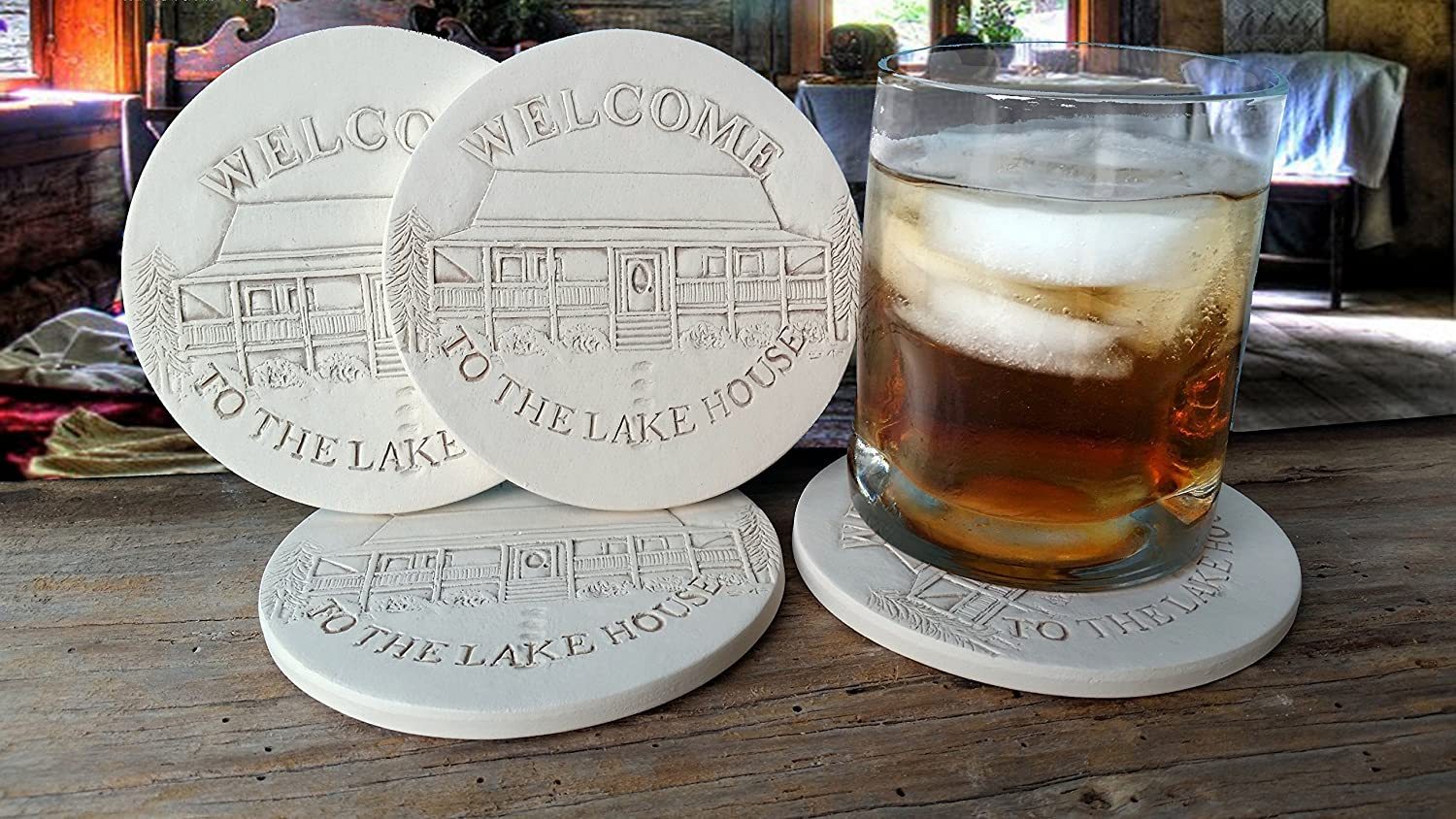 Drink Coasters by McCarter Coasters, Lake House, Absorbent, Light Beige 4.25 inch (4pc)