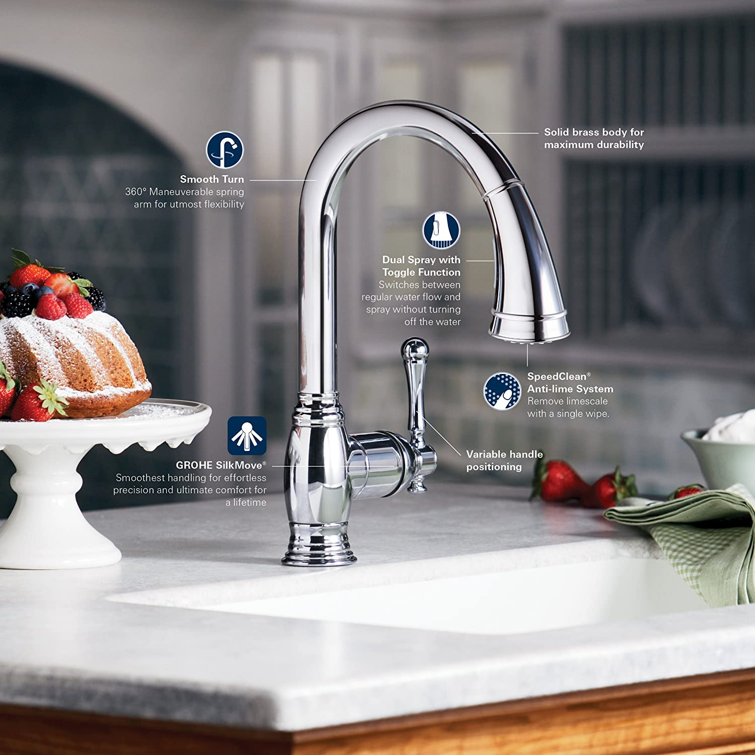 Grohe EN Bridgeford PullDown Spray Kitchen Faucet Brushed - Amazon grohe kitchen faucets