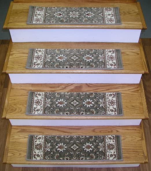 """Traditional Oriental Patterned 13 Carpet Stair Runner Treads Rugs 26/"""" x 9/"""" Green"""