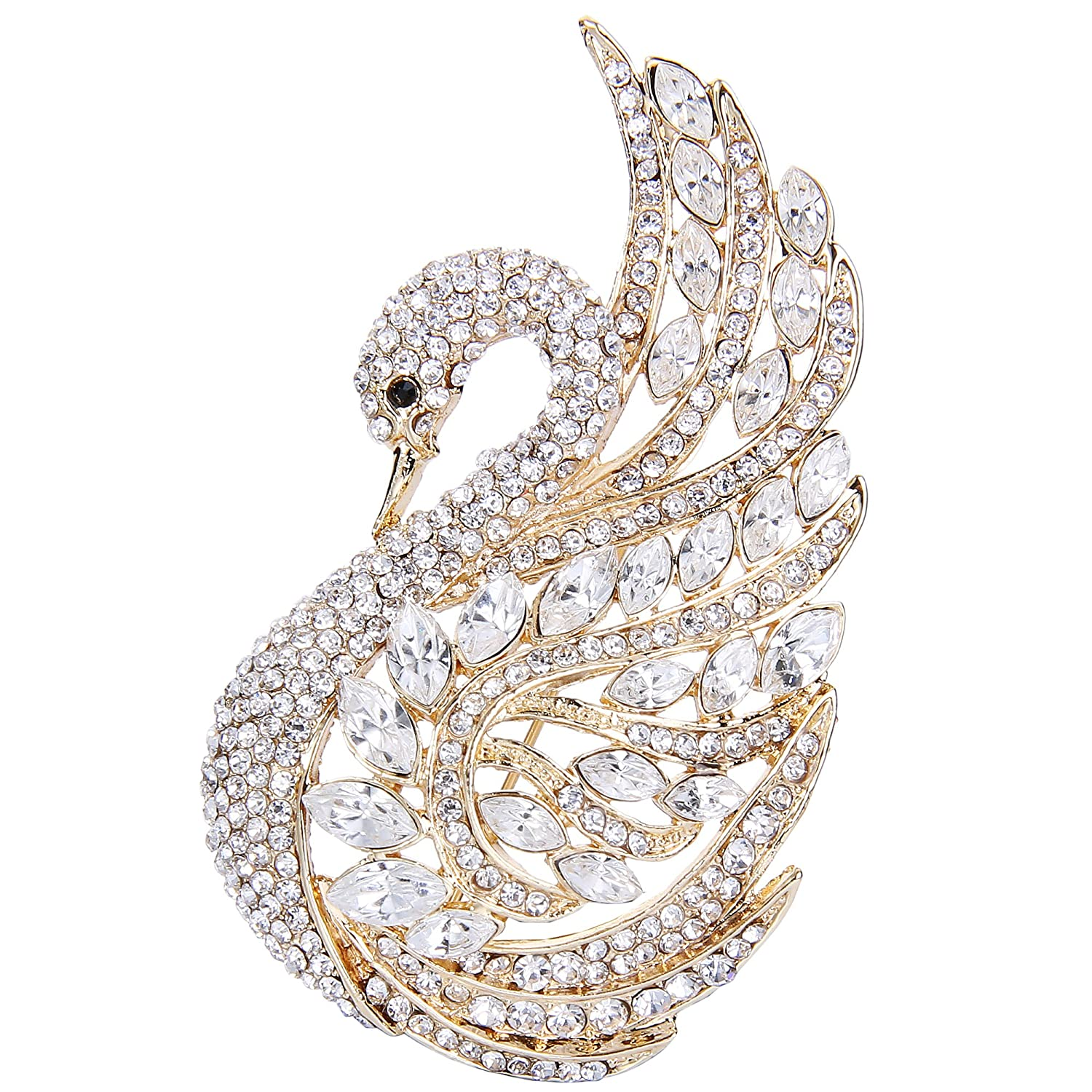 Flyonce Women's Austrian Crystal Wedding Elegant Swan Bird Animal Brooch 13000382-3