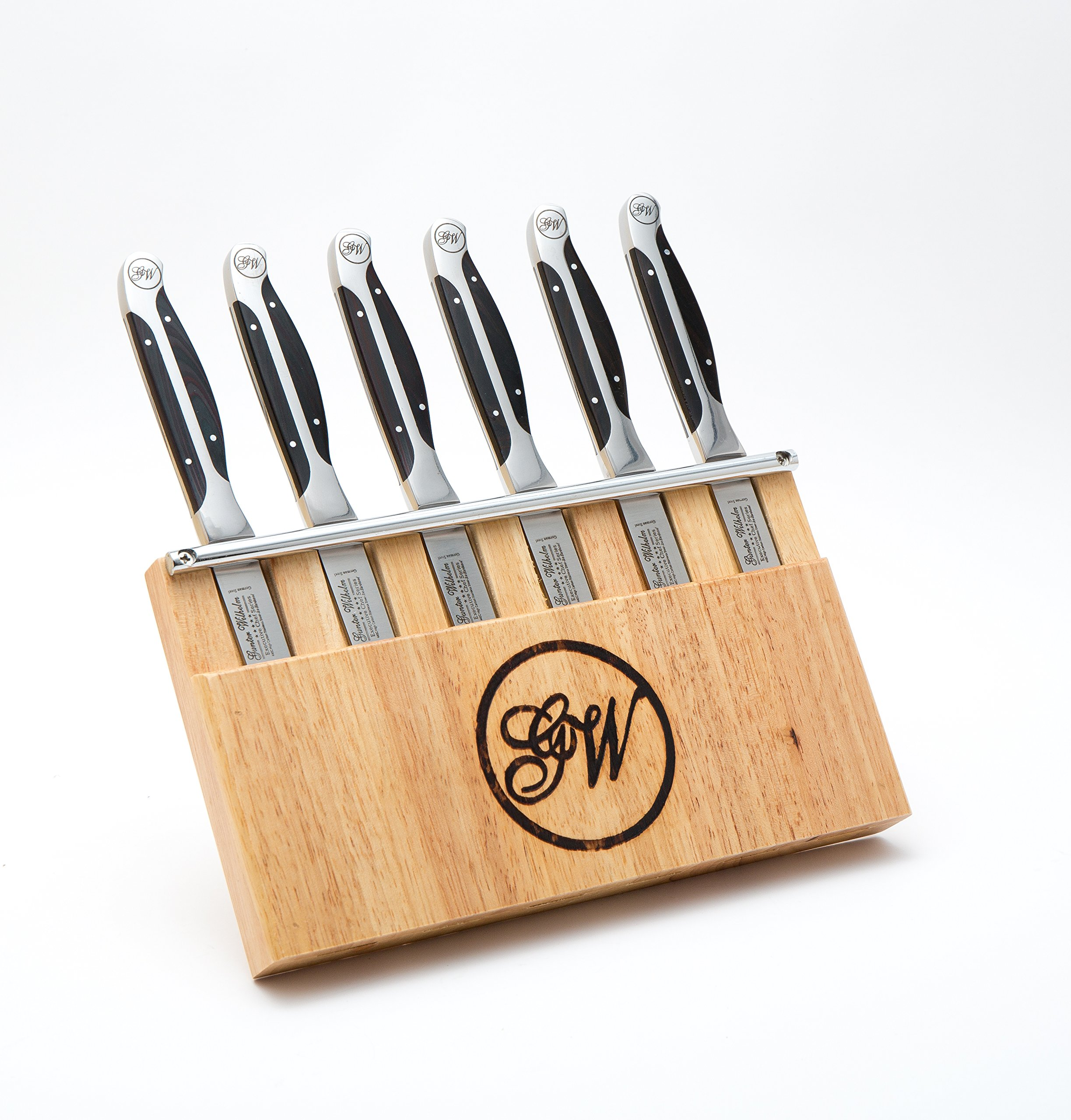 Gunter Wilhelm Cutlery 7pc Steak Knife Set - Black Pakkawood Handles