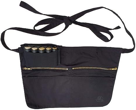CLAIRE-FONCET Delantal camarero, con bolsillo para monedero, dispensador extraíble de 5 piezas + 2 bolsillos cremallera + 2 grandes bolsillos ...
