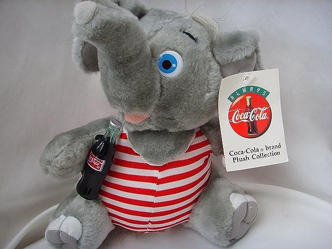 "Play by Play Brand 1993 Coca Cola Plush 9/"" ELEPHANT Lifeguard holds 3/"" Coke"