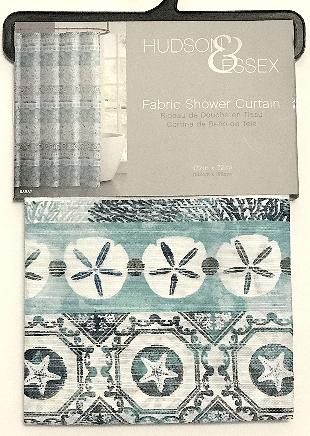 VCNY Home Fabric Shower Curtain Turquoise Aqua Teal Hidden Ocean Shells with Eclectic Distressed Style