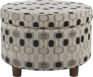 HomePop Round Upholstered Storage Ottoman, Black Geo