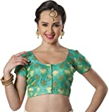 STUDIO SHRINGAAR TRENDY POLY BROCADE SILK ROUND NECK FULLY STITCHED SAREE BLOUSE WITH SHORT SLEEVES