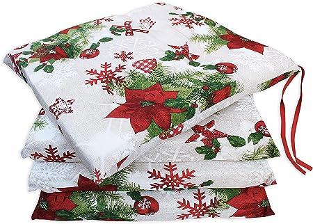 Set 4 Cuscini Copri Sedia con Laccetti Fantasia Natale MOD. Morbidone (4 Punti)