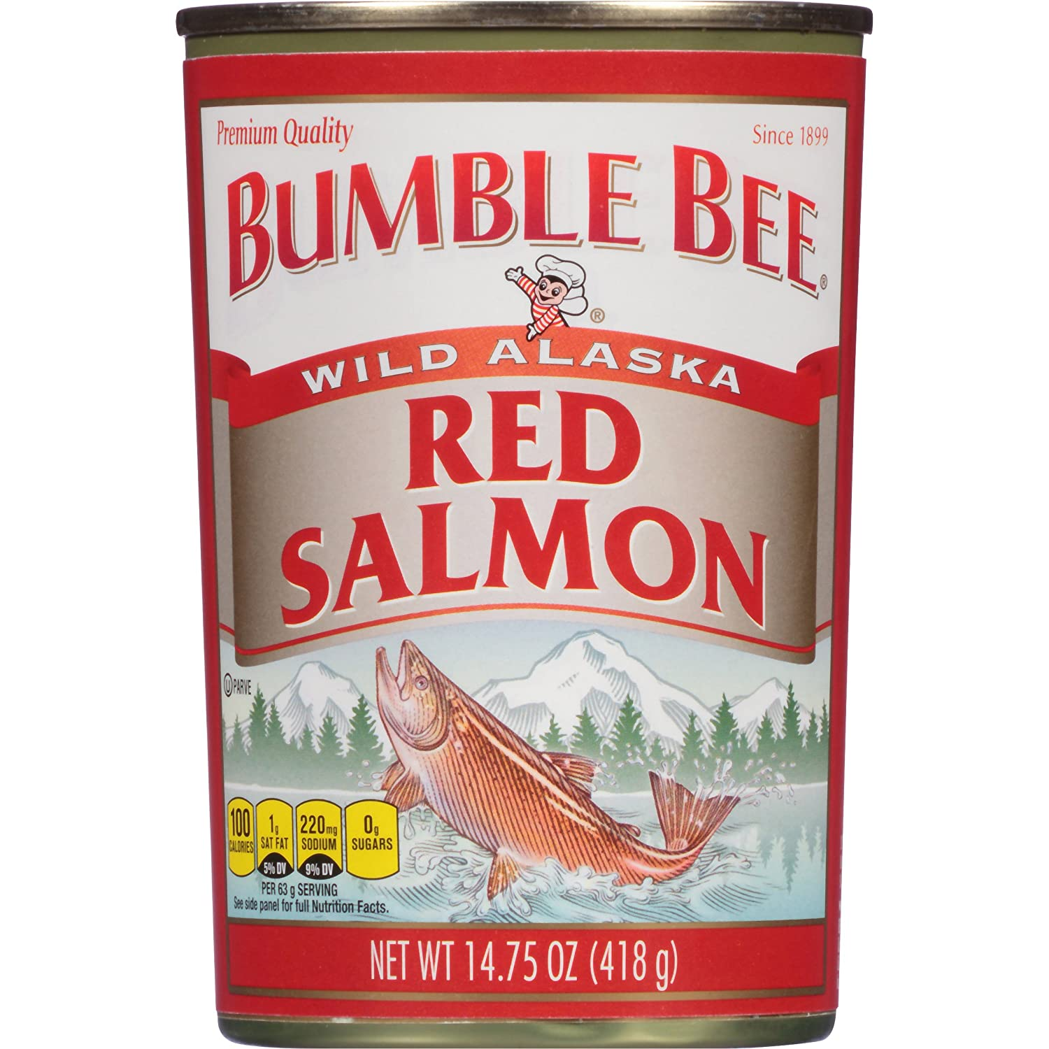 BUMBLE BEE Wild Alaska Red Salmon, 14.75 Ounce Can, Ready to Eat Canned Salmon, High Protein, Keto Food, Keto Snack, Gluten Free, Paleo Food, Low Carb Snacks, Canned Food