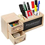 Natural Wood Office Supply Caddy / Pencil Holder / Desktop Stationary Organizer w/ Chalkboard - MyGift®