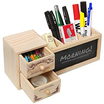 Natural Wood Office Supply Caddy / Pencil Holder / Desktop Stationary  Organizer W/ Chalkboard