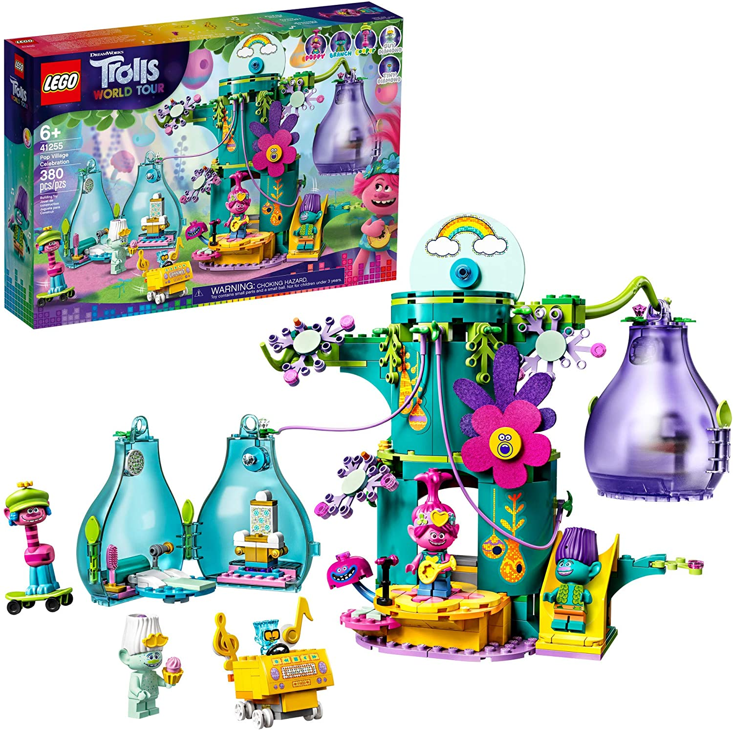 LEGO Trolls World Tour Pop Village Celebration 41255 Trolls Tree House Building Kit for Kids, New 2020 (380 Pieces)
