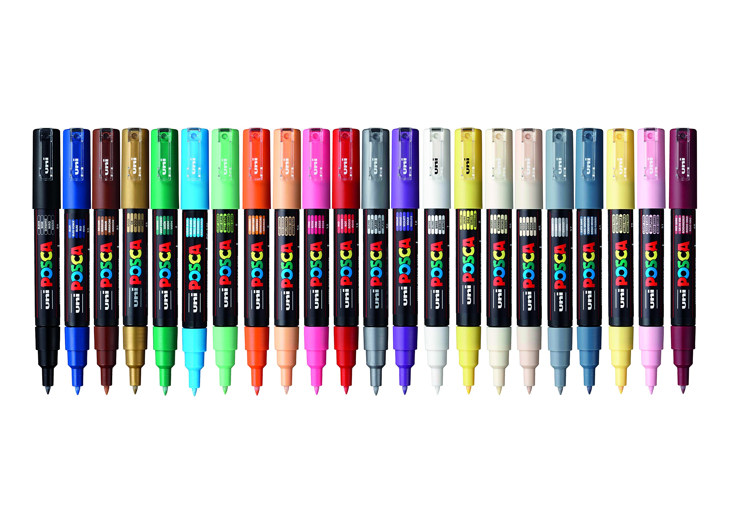 POSCA 153544865 1 mm Fine Tip Waterbased Paint Marker - Assorted Colours (Pack of 22) by posca (Image #1)