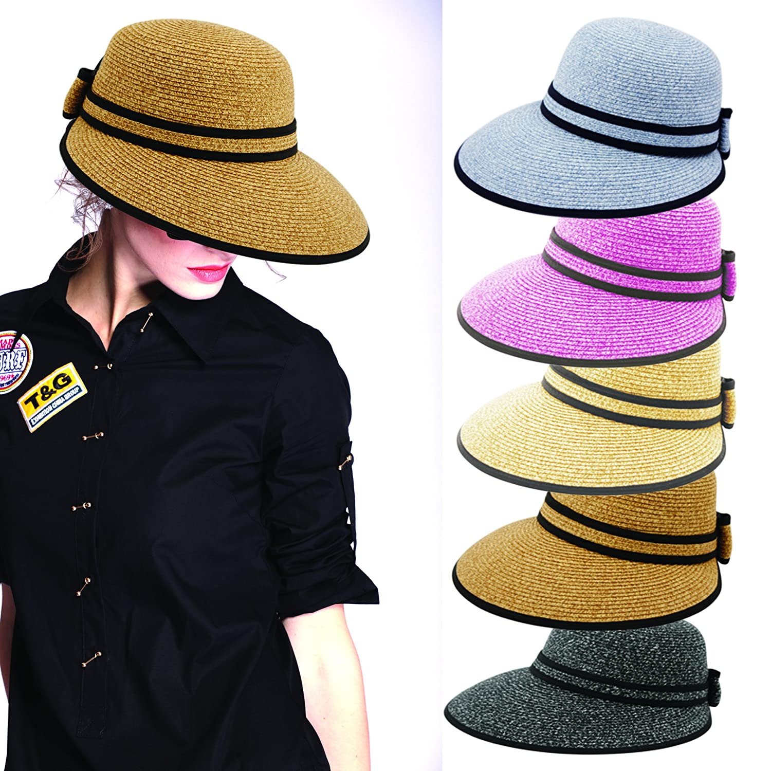Wide Front Brim and Smaller Back Straw Packable Sun Hat with Black Sash