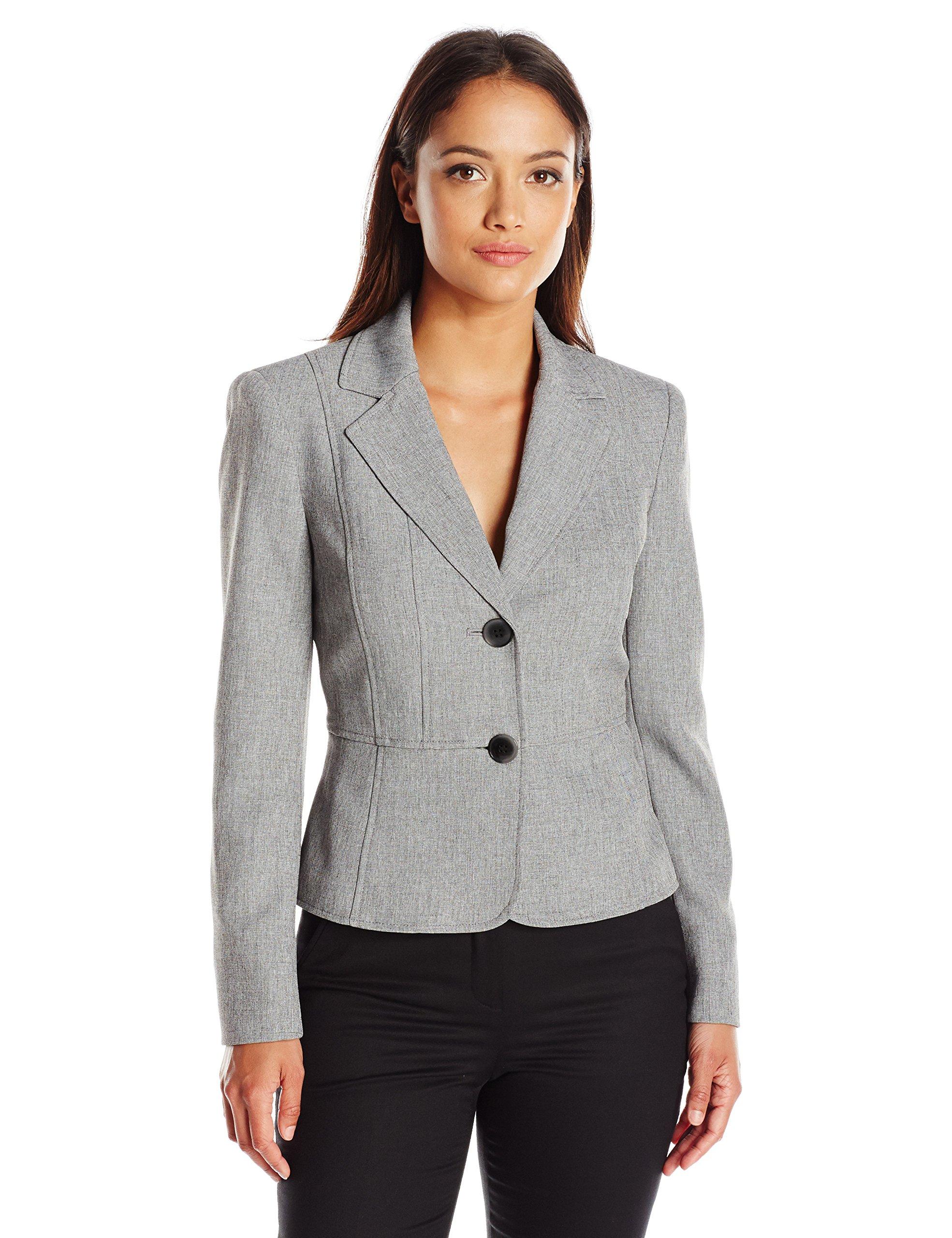 Kasper Women's Petite Size 2 Button Jacket, Grey/Black 6