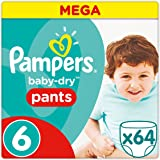 Pampers Baby-Dry Pannolino Mutandina, Taglia 6 (+15 kg), Mega Pack (confezione da 64)