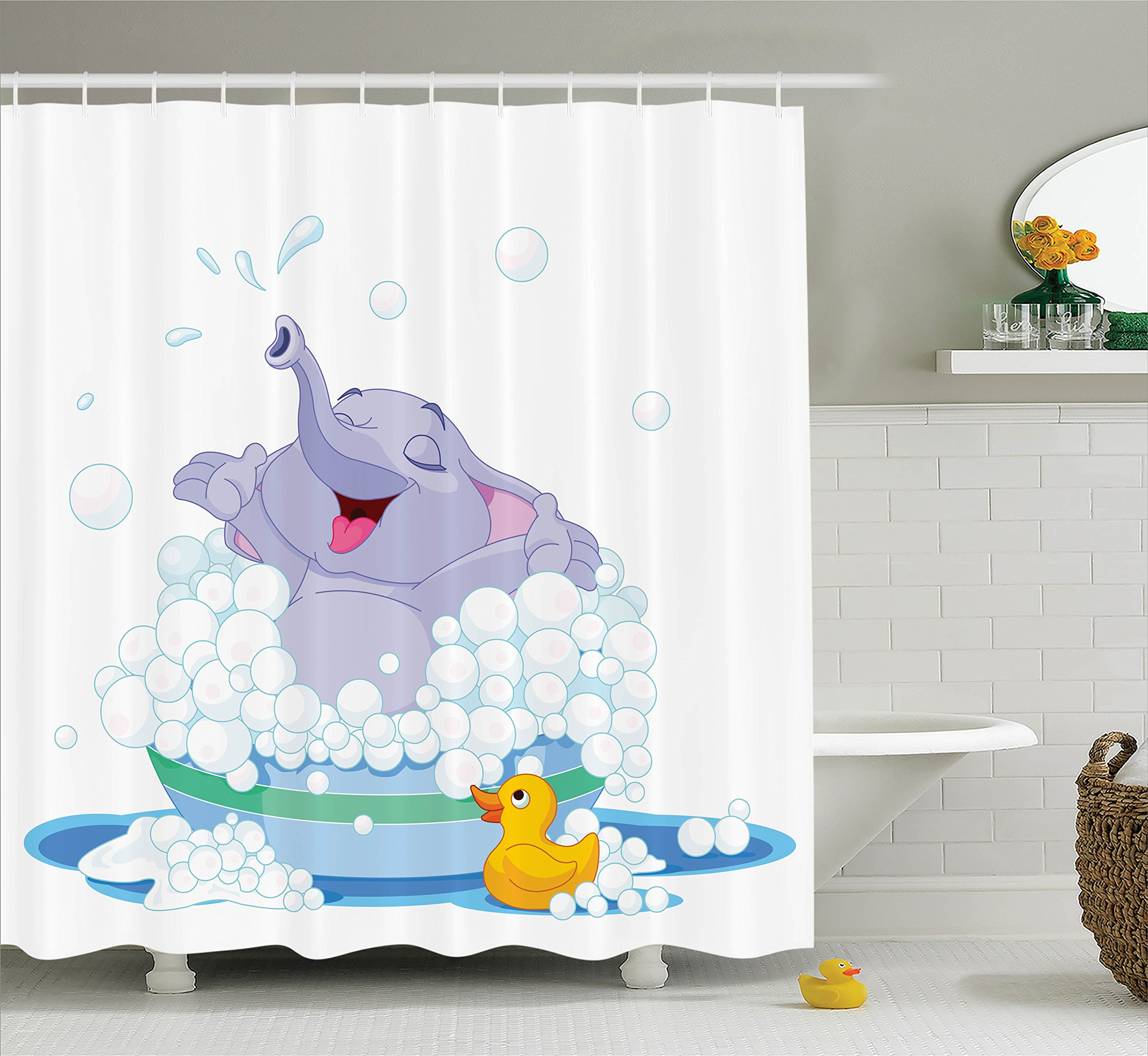 Ambesonne Nursery Decor Collection, Elephant Takes Bubble Bath with Duck Water Games Wildlife Animals Fun Art Print, Polyester Fabric Bathroom Shower Curtain, 75 Inches Long, Multi