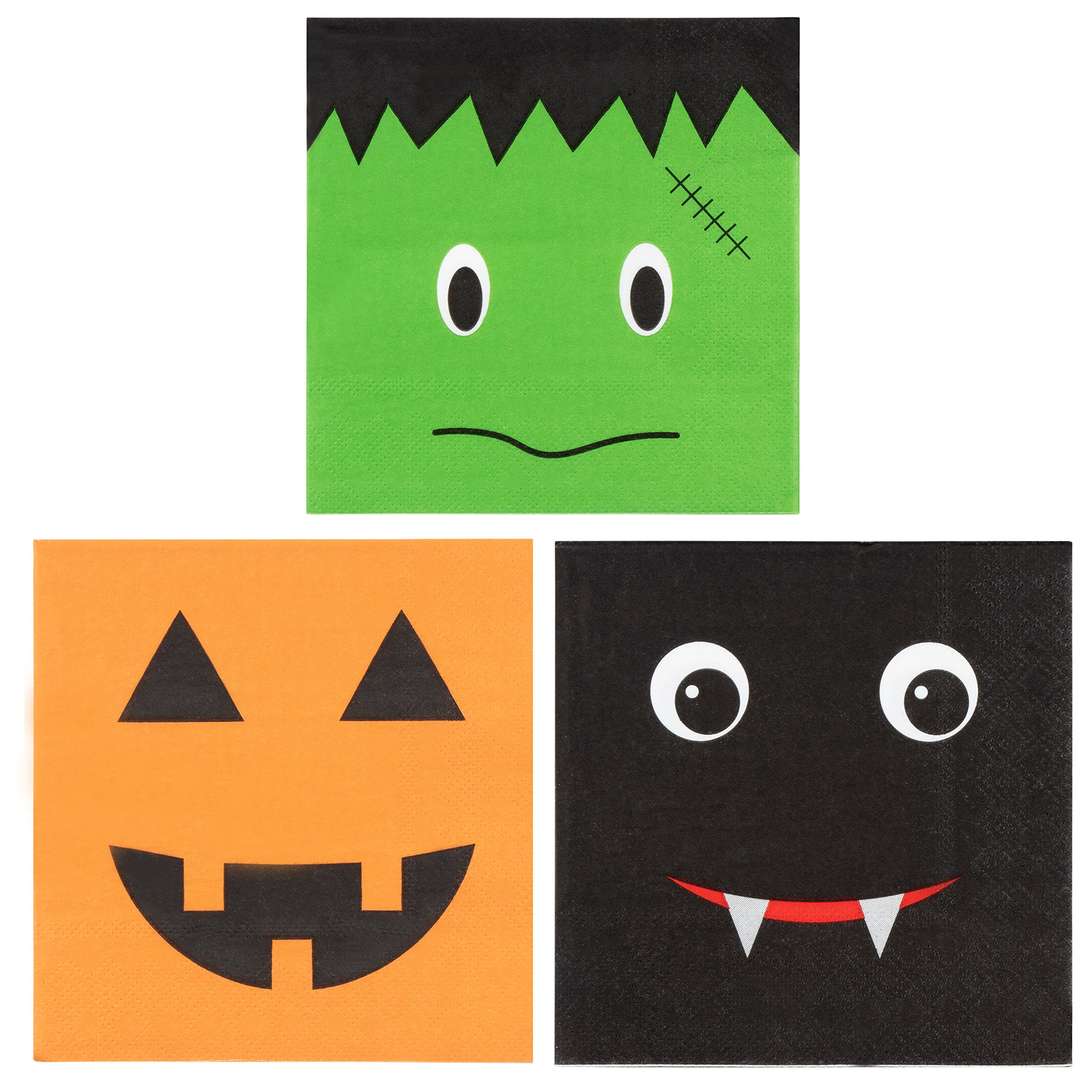 150-Pack Halloween Luncheon Paper Napkins in 3 Assorted Fun Designs, 3-Ply, 50 of Each - Green, Orange, Black, 10 x 10 Inches Unfolded, 5 x 5 Inches Folded