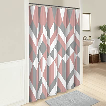 Marble Hill 16243SHWR072PNK Lena 72 Inch By Shower Curtain Pink