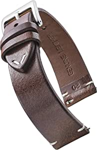 Alpine Genuine Vintage Leather Watch Strap with Quick Release Spring Bars - Watch Band Colors Black, Bown, Tan - 18, 20, 22, 24 mm