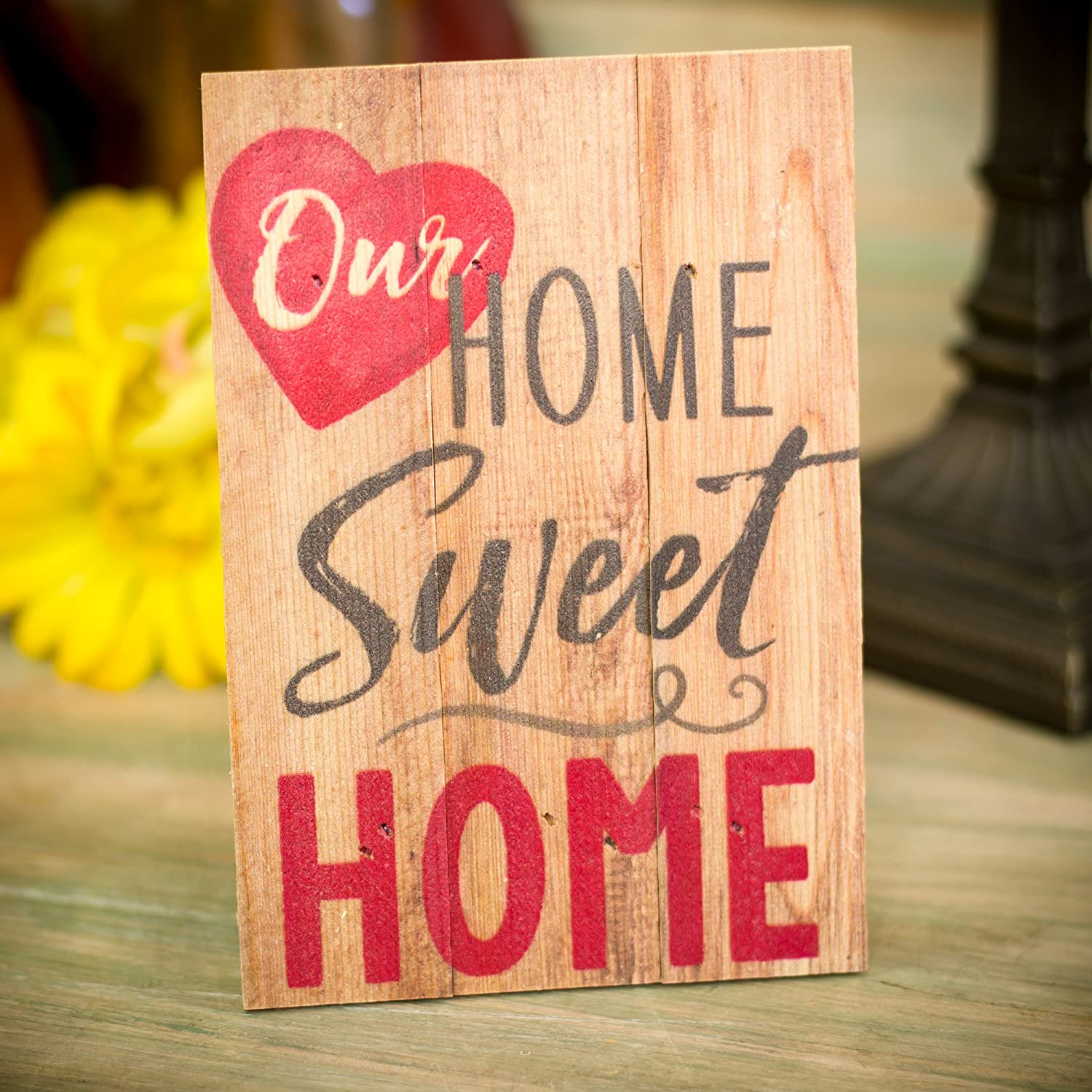 Amazon.com: Home Sweet Home with Heart 7 x 5 Small Wood Plank Design ...