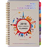 """2018 Weekly & Monthly Planner – Daily Academic Year Planner, 5.75"""" x 8.25"""", Twin-wire Binding, Colorful & Thick Pages, Sufficient Space, Notes Page – Clear Cover Pocket, Famous City Watercolor Skyline"""