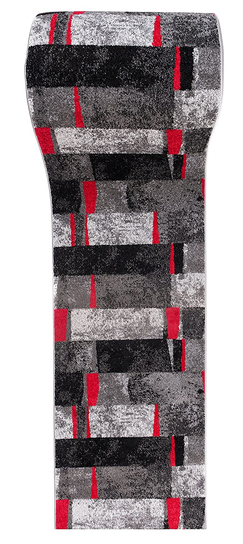 Tapiso JAWA Läufer Teppich Teppich Teppich Flur Brücke Meliert Modern Kurzflor Grau Schwarz Rot Viereck Streifen Muster Designer Wohnzimmer ÖKOTEX 120 x 210 cm B07MTKBJ6X Lufer eb2444